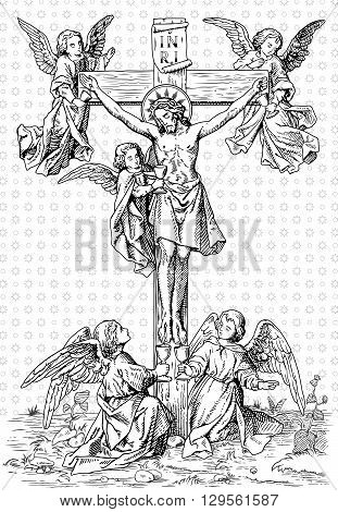 jesus christ crucified on the cross with angels vintage vector illustration