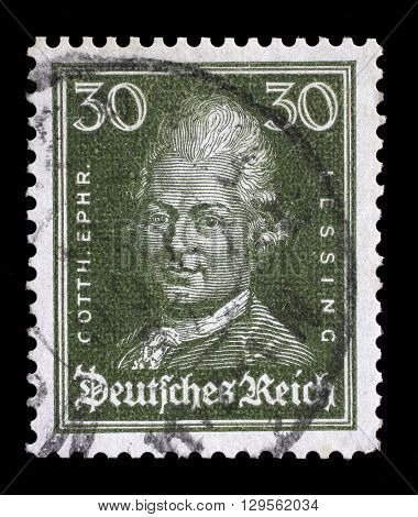 ZAGREB, CROATIA - JUNE 22: A stamp printed in the German Reich shows image of Gotthold Ephraim Lessing, the writer and philosopher, series, circa 1926, on June 22, 2014, Zagreb, Croatia