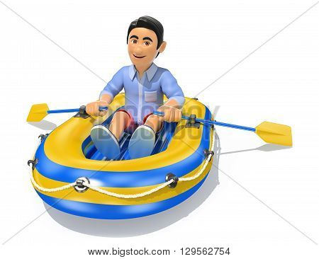 3d young people illustration. Man in shorts paddling a inflatable boat. Isolated white background.