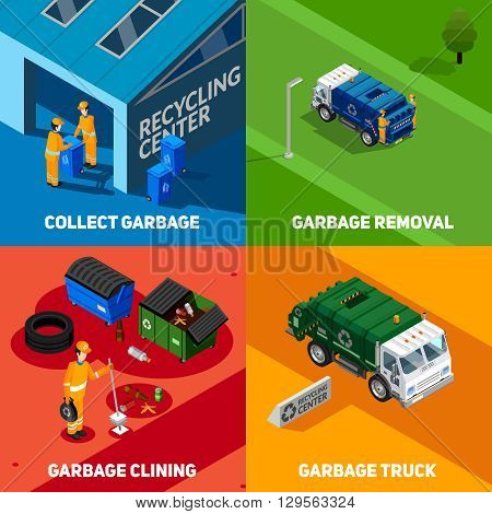 Isometric 2x2  design concept set of collect and removal garbage with trucks and recycling center icons vector illustration