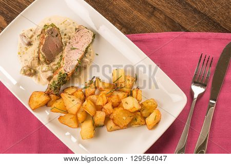 Pork Tenderloin Baked In Crust  With Potatoes