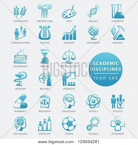 Academic disciplines isolated icon set vector illustration