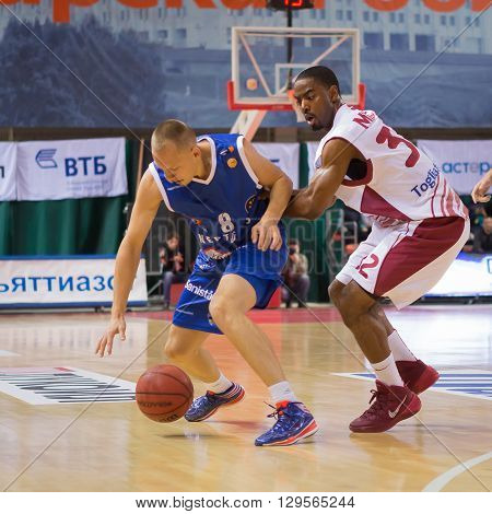 Bc Neptunas Guard Mindaugas Girdziunas (8) With Ball
