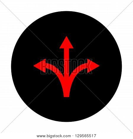Three-way direction arrow sign. Red vector icon on black flat circle.