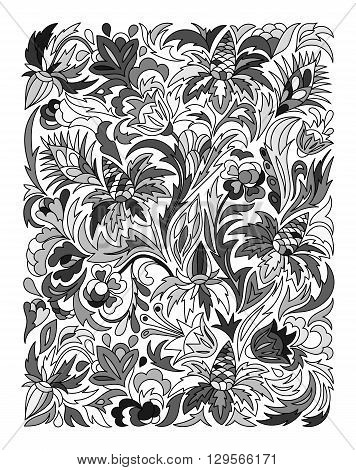 Ethnic colored floral zentangle, doodle background pattern rectangle in vector. Henna paisley mehndi doodles design. Good for cover design. Monochrome.