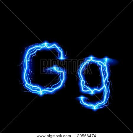Uppercase and lowercase letters G in lighting style