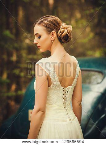 beautiful bride and beautiful wedding dress outdoor