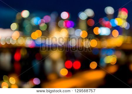 Background of colorful bokeh of cityscape at night.