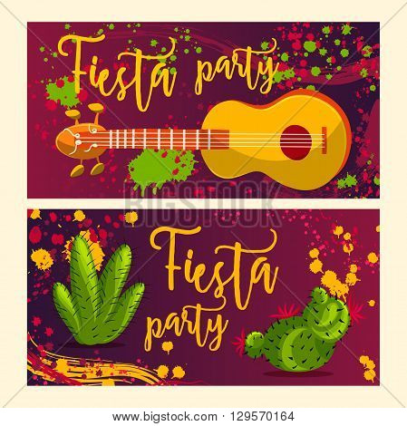 Beautiful greeting card, invitation for fiesta festival. Design concept for Mexican Cinco de Mayo holiday with guitar, cactuses and colorful splashes in watercolor style.Vector illustration
