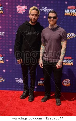 LOS ANGELES - APR 29:  Pete Wentz, Andy Hurley at the 2016 Radio Disney Music Awards at the Microsoft Theater on April 29, 2016 in Los Angeles, CA
