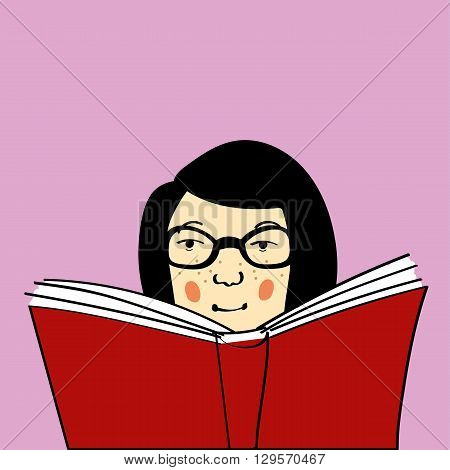 Young woman or girl with freckles and glasses being a bookworm and reading a big red book. Copy space provided.