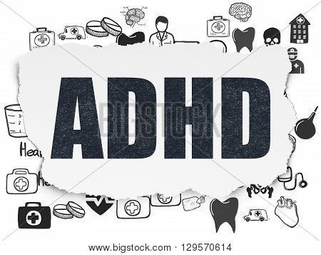 Health concept: Painted black text ADHD on Torn Paper background with  Hand Drawn Medicine Icons