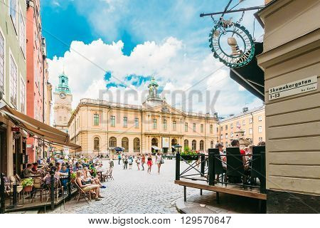 Stockholm, Sweden - July 29, 2014: Swedish Academy And Nobel Museum On Stortorget Square In Old City - Gamla Stan, The Oldest Square In Stockholm