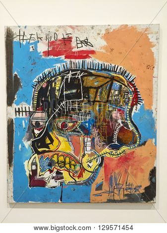 LOS ANGELES - MARCH 5: Untitled, 1981 by Jean-Michel Basquiat at The Broad Contemporary Art Museum on March 5, 2016 in Los Angeles, California, USA.