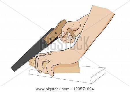 Man Holding Handsaw. Man Sawing Board. Icon With Hands And Handsaw.