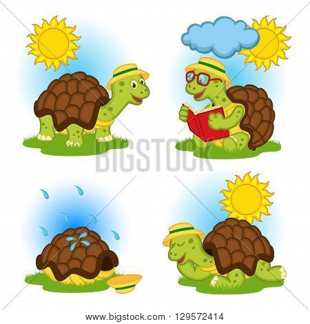 turtle reading a book and hides from the rain - vector illustration, eps