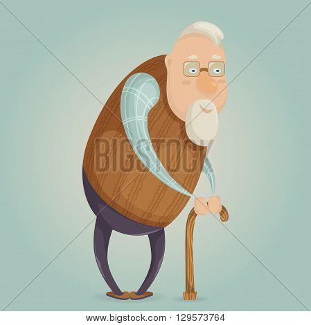Old man cartoon character. Vector illustration in retro style