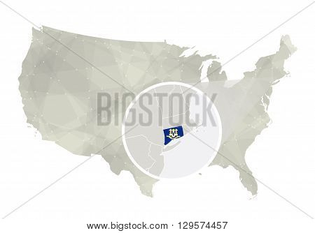 Polygonal Abstract Usa Map With Magnified Connecticut State.