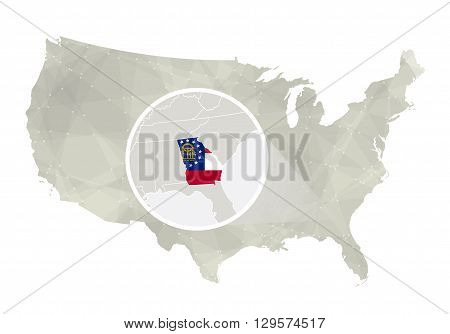 Polygonal Abstract Usa Map With Magnified Georgia State.