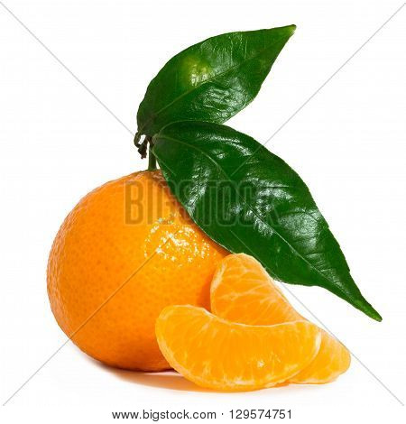 Mandarin with leaves isolated on white background