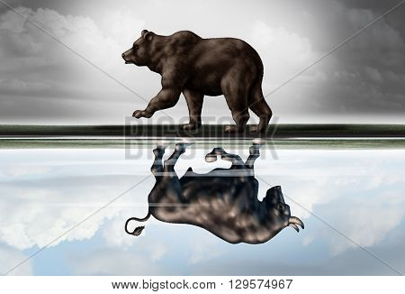 Positive financial outlook business concept as a bear casting a reflection of a forward moving bull as a hopeful forecast in stock market investing in a 3d illustration style. poster