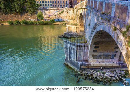 Ponte Sisto is a bridge in Rome's historic centre spanning the river Tiber. It connects Via dei Pettinari in the Rione of Regola to Piazza Trilussa in Trastevere.