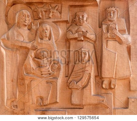 KLEINOSTHEIM, GERMANY - JUNE 08: Nativity Scene, Adoration of the Magi, Saint Lawrence church in Kleinostheim, Germany on June 08, 2015.