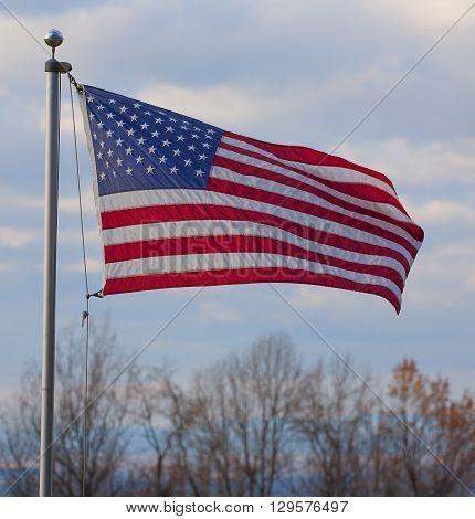 American flag flying above the Shenandoah Valley on the Blue Ridge