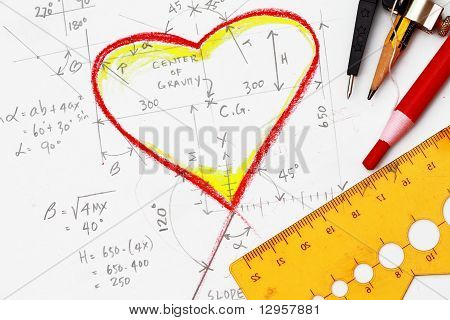 Hearts Drawing With Calculation