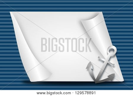 Illustration of nautical background with blank paper sheet and anchor decoration
