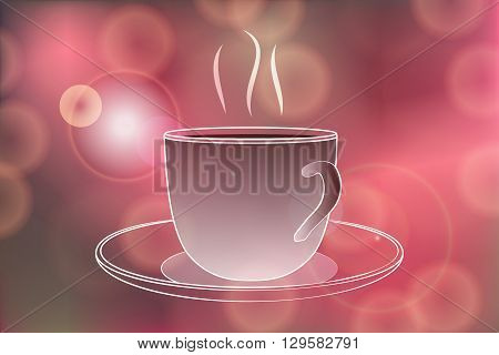 Hot coffee banner with Hot coffee steam on Festive bokeh lights abstract background. Cafe menu banner. Hot coffee vector illustration