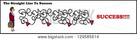 Business cartoon about the lack of a straight line to success.