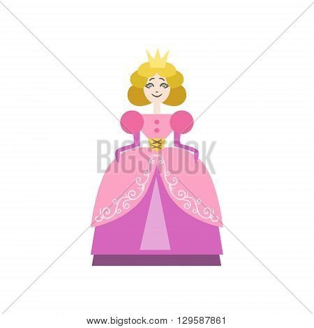 Fairytale Princess Flat Isolated Childish Style Simple Vector Drawing In Bright Colors On White Background