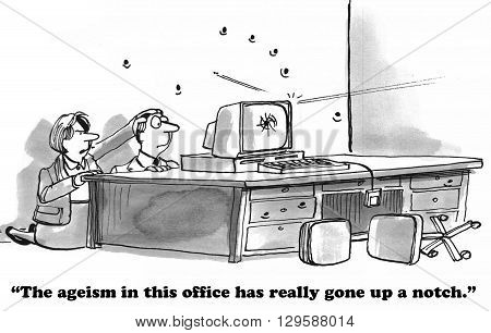 Business cartoon about an ageism war at work.