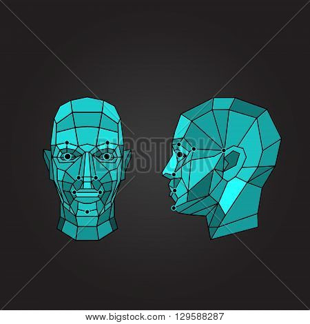 Face recognition - biometric security system. Face scanning, front view, side view of human head. Vector illustration