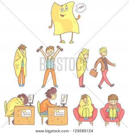 Lazy Vs Productive Set Of Flat Outlined Pale Color Funny Drawings Isolated On White Background
