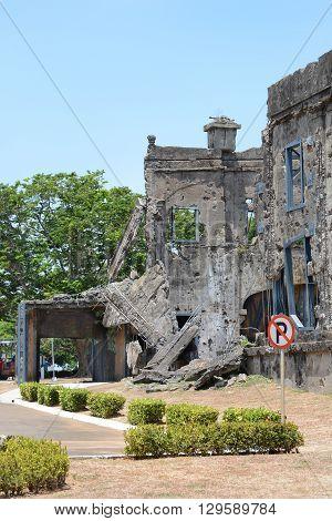 Army barracks ruins on Corregidor Island Philippines