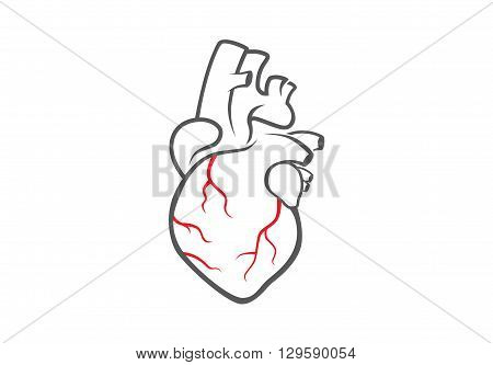 Heart logo template for work about medical and health content.