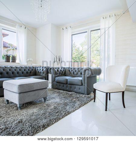 Classic furniture in modern new house horizontal