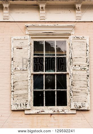 Detail Of Old Window With Peeling Paint