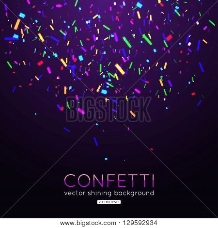 Shining confetti on magic background. Festive background with colorful confetti pieces. Confetti template for banner, flyer, birthday, party, wedding. Vector illustration