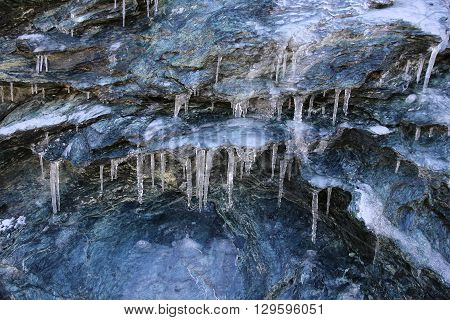 Icicles at Fee Glacier in the Swiss Alps