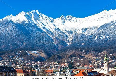 Austria Tyrol panoramic wiew over Innsbruck and Inn valley with the snowy mountains in the background