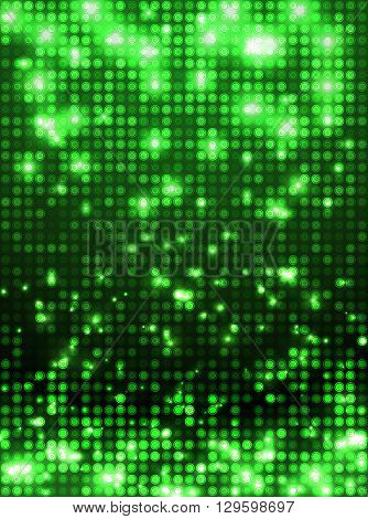 Green vector neon metallic mosaic with spots light. Bright sparkling base for your design. Abstract glitter background for decoration party, disco flyers, posters, banners, advertisement, wrapping
