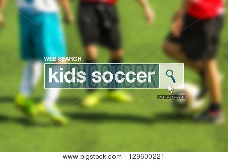Kids soccer web search bar glossary term on internet