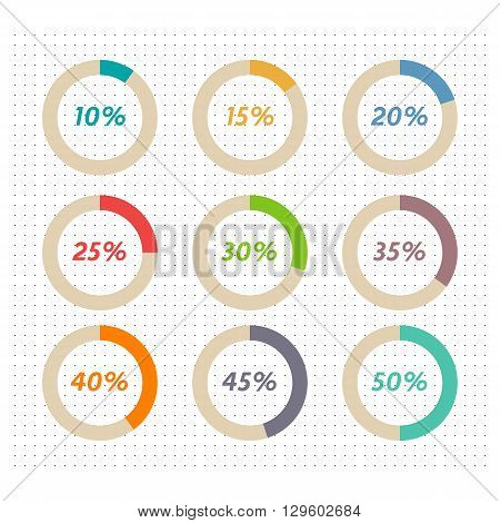 Infographics vector: 10% 15% 20% 25% 30% 35% 40% 45% 50% colorful pie charts on dotted background
