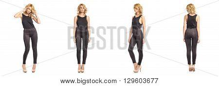 Full length portrait of beautiful woman in leggins