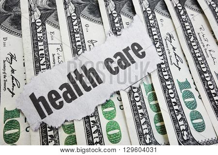 Health Care newspaper headline on some cash