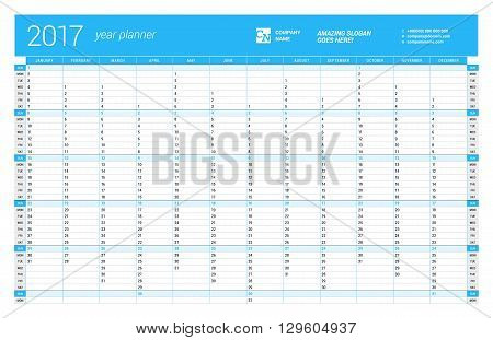 Yearly Wall Calendar Planner Template For 2017 Year. Vector Design Print Template. Week Starts Sunda