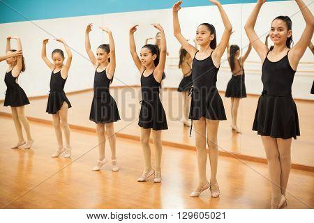 Pretty Girls In A Ballet Dance Class